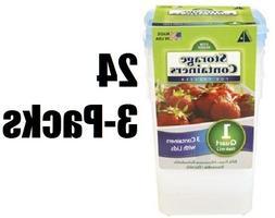 "3 packs Arrow Plastic 00044 QUART 4""x4""x7"" Freezer & Storag"