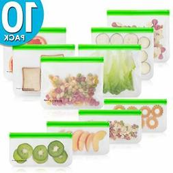 10 Pack BPA FREE Freezer Bags ,Reusable Storage Bags ziploc