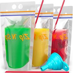 100 Hand-Held Drink Pouches with Straw Hole: BPA Free Clear