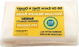 "100 Vacuum Sealer Bags: 50 Pint 6"" x 10"" and 50 Quart 8"" x 1"