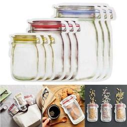 10Pcs Kitchen Fresh Zip lock Bag Reusable Mason Jar Pattern