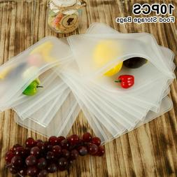 10PCS Reusable Silicone Food Fresh Bag Seal Storage Containe