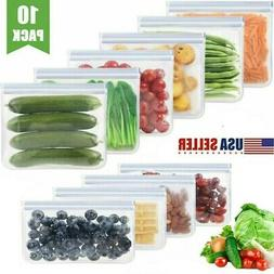 10Pcs Silicone Food Storage Bag Freezer Reusable Seal Zip Va