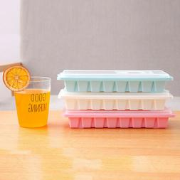 16 Cavity Ice Cube Tray Box With Lid Cover Drink Jelly Freez
