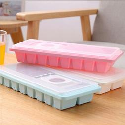 16 Cavity Ice Cube Tray Box w/ Lid Cover Drink Jelly Freezer