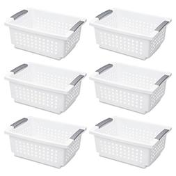 Sterilite 16628006 Medium White Stacking Basket With Titaniu