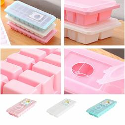 16Cavity Plastic Ice Cube Tray Box With Lid Cover Drink Jell