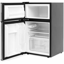 2 Door Mini Compact Refrigerator Freezer 3.2 Cubic Feet Silv