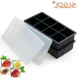 2Pcs Large Square Silicone Ice Cube Trays Freezer Trays Ice
