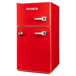 Compact Double Door Mini small Fridge Freezer Red 3.2 cu. ft