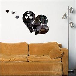 Futemo 3D Mirror Love Hearts Wall Sticker Decal DIY Wall Sti