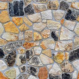 Futemo 3D Wallpaper Brick Stone Wall Sticker Rustic Effect S