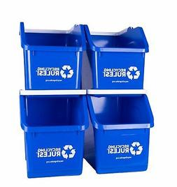 4 Pack of Bins - Blue Stackable Recycling Bin Container with