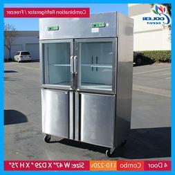 4 door commercial freezer refrigerator combo model