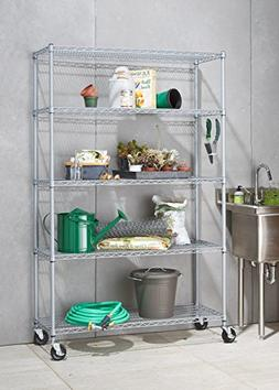 TRINITY 5-Tier NSF Outdoor Rack, 48 by 18 by 72-Inch, Gray