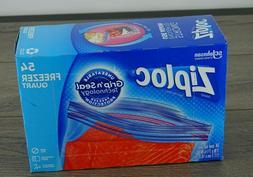 54 Ziploc Double Zipper Quart Freezer Bags- 7 In x 7 7/16 In