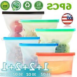 6pcs Kitchen Fresh Zip lock Bags Reusable Silicone Food Free