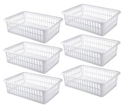 Zilpoo 6 Pack - Plastic Storage Organizing Basket, Cabinet S