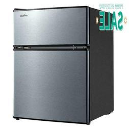 Arctic King 3.2 Cu ft Two Door Mini Fridge with Freezer, Sta