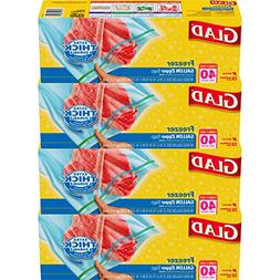 Glad Zipper Food Storage Freezer Bags - Gallon - 40 Count -