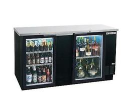 """Beverage-Air 69"""" Two-Section Glass Door Bar Cooler W/ Black"""