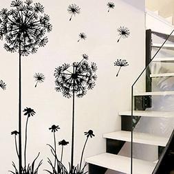 Futemo Black Dandelion Flower Wall Stickers Creative Plant T