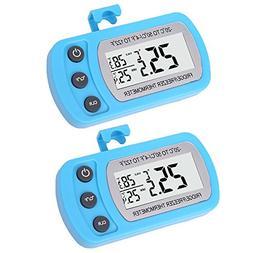 2 Pack Blue Digital Fridge Refrigerator Freezer Thermometer,