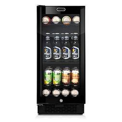 Builtin Black Glass Beverage Refrigerator