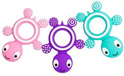 Dream Top Cute Silicone Baby Teether Animal Ring - 3-Pack -