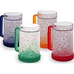 Double Wall Gel Freezer Mug - Set of 4 - Red, Orange, Blue,