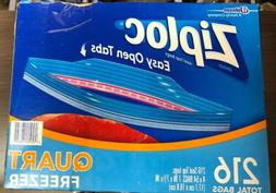 Ziploc Double Zipper Easy Open Tabs Freezer Quart Food Stora