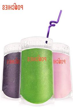 Premium Drink Pouches with Straws & Funnel, 60ct Zipper Bags