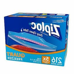 easy open tabs freezer quart bags 216