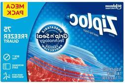 Ziploc Freezer Bags, Easy Open Tabs, Gallon, 75 Count Freeze
