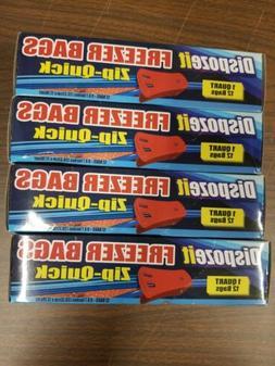 Dispozeit Freezer Bags, Zip-Quick, 1 Quart, 12 Bags, 8x7in.