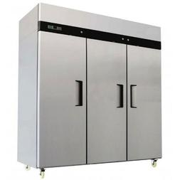 "78"" Freezer Triple Solid Doors 69 Cubic Ft. Stainless Steel"
