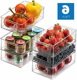 Fridge and Freezer Organizer Refrigerator Storage 6 Pack Set