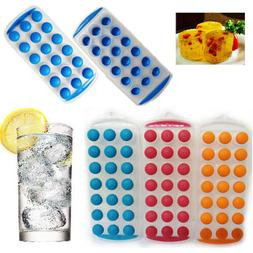 Ice Cube Tray Easy POP Out Silicone Round Cubes Maker Drink