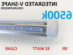 Integrated V-SHAPE 5ft 32W 6500K Clear COOLER/ FREEZER LED T