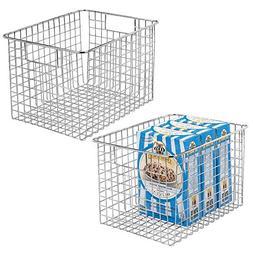 mDesign Farmhouse Decor Metal Wire Food Storage Organizer, B