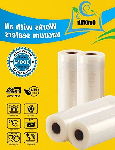 "11"" 25' - 4 Pack Vacuum Sealer Rolls Foodsaver 33% Thicker, BPA Free, FDA Approved, Commercial Grade"