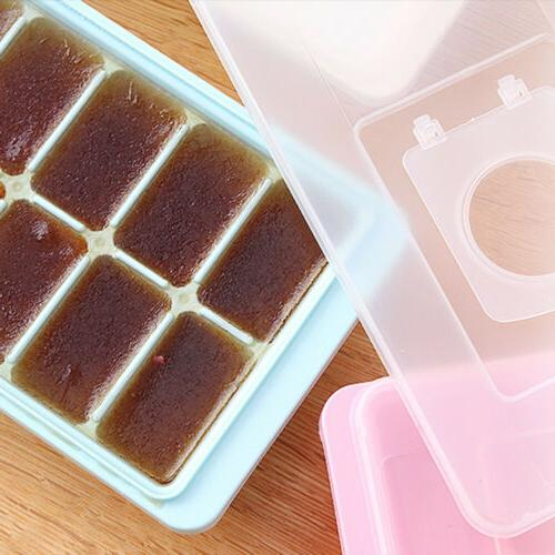 16 Cavity Ice Cube Tray Box With Lid Cover Drink Mold Mould Maker