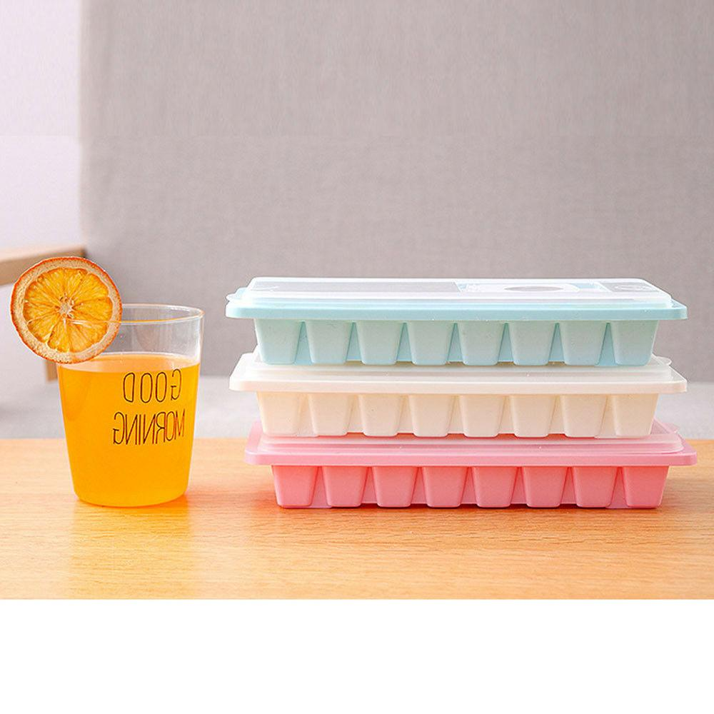 16 Cavity Ice Cube Tray Cover Drink Freezer Mold Mould