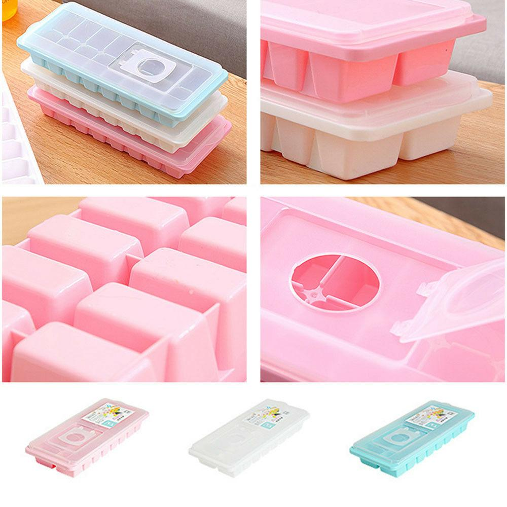 16 Cavity Ice Cube Tray Lid Cover Drink Freezer Mold Maker