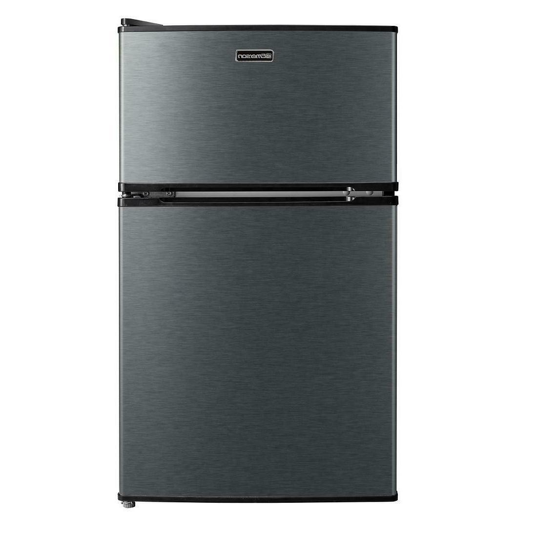 3.1 Cu Ft Stainless Steel Mini Fridge Freezer 2-Door Compact