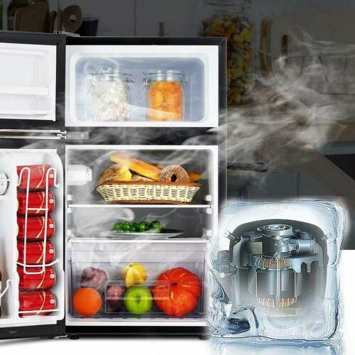 3.2 Cu Refrigerator 2-Door Fridge Top Box Black
