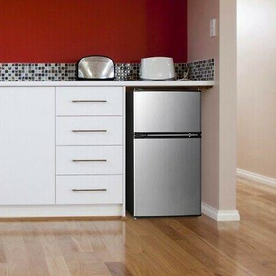 3.2 Cu Fridge Freezer 2 Door Compact Stainless Steel