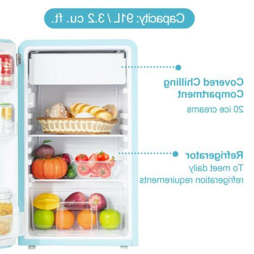 3.2 Cu Ft Retro Mini Refrigerator Compact Eco-friendly Box