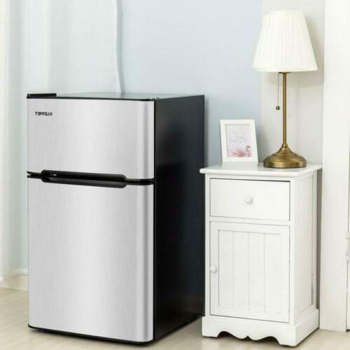 3.2 Cu.Ft Steel Double Door Refrigerator Freezer Fridge