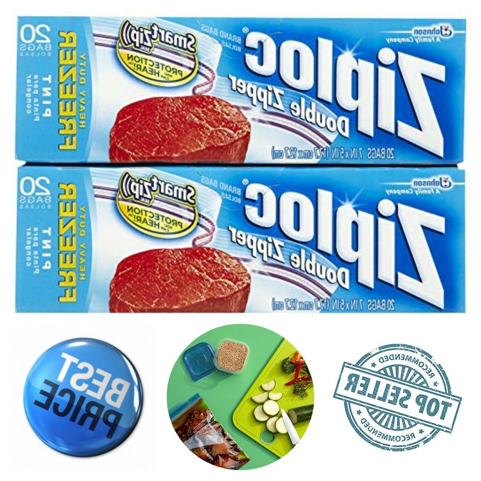 40-Pack Ziploc Freezer Pint Size Bags Fresh Food Storage Pre